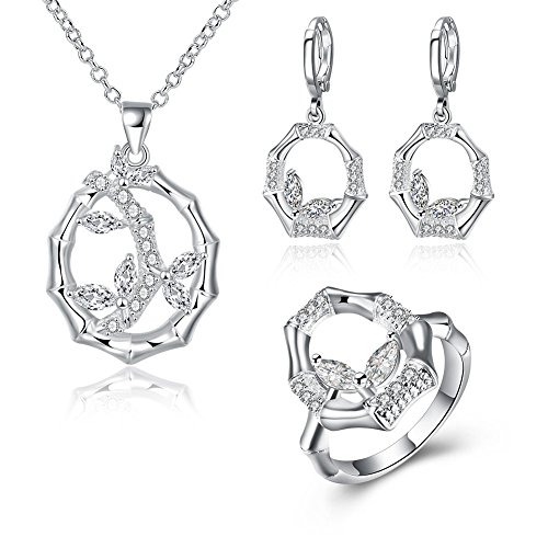 fashionbeautybuy donne cristallo Bamboo Hollow Out collana in argento placcato anello orecchini wedding party Jewelry Set corpo catena