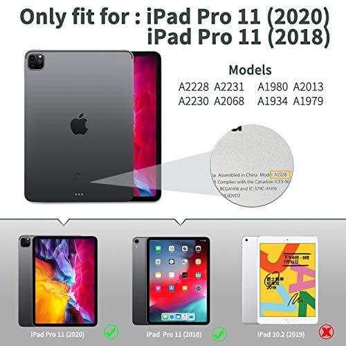 EasyAcc Tastatur Hülle Kompatibel mit iPad Pro 11 2020/2018, Beleuchtete Tastatur Magnetische Kabelloser Bluetooth Abnehmbare Deutsche QWERTZ (A2228/ A2231/ A2068/A2230), Schwarz