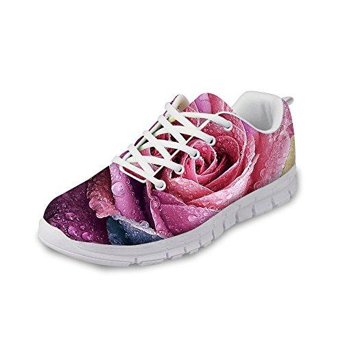 Wrail Damen Laufschuhe Bunte Sportschuhe Turnschuhe Bequem Schnürer Sneaker Schöne Blumen Schuhe Blumen2 EU 39