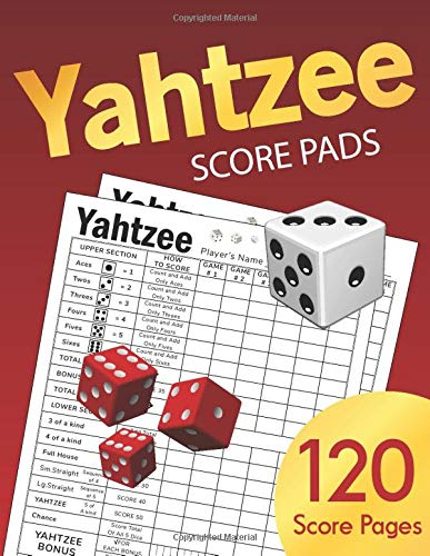Yahtzee Score Pads: Large size 8.5 x 11 inches 120 Pages | Dice Board Game | YAHTZEE SCORE SHEETS | Yatzee Score Cards | Yahtzee score book Vol.4