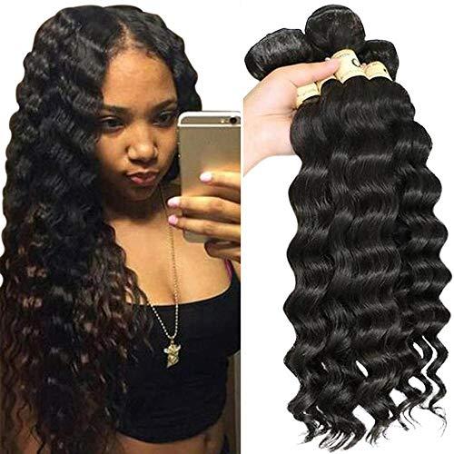 """QTHAIR 12A Peruvian Virgin Hair Loose Deep Wave Human Hair (28"""" 28"""" 28"""" 28"""",400g,Natural Black)100% Unprocessed Peruvian Loose Deep Wave Virgin Hair Weave Human Hair Bundles"""
