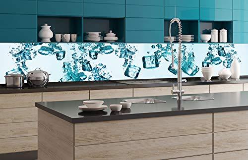 DIMEX LINE Küchenrückwand Folie selbstklebend EISWÜRFEL 350 x 60 cm | Klebefolie - Dekofolie - Spritzschutz für Küche | Premium QUALITÄT