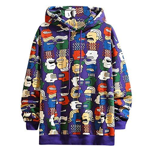 Hoodie Herren Lustig für Pullover für Herren, Holeider Basic Kapuzen-Sweatshirt Langarm Kapuzenpullover Herbst Winter Drucken Baumwollmix Mode Casual Streetwear Kapuzenpulli