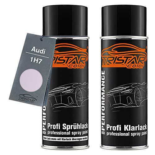 TRISTARcolor Autolack Spraydosen Set für Audi 1H7 Le Mans Silver Metallic/Felgensilber Metallic Basislack Klarlack Sprühdose 400ml