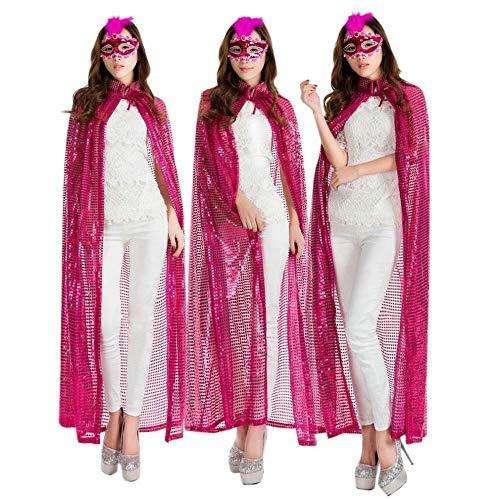 CN Halloween Pailletten Farbe Mantel Cos Kleidung Prinzessin Königin Schönheit Auszeichnungen Mantel Bühnenshow,Rose rot,Einheitsgröße