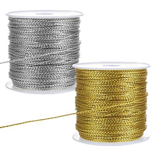 LIHAO - 2 rollos de cordón metálico de plata, hilo de oro, cordón elástico para papel de regalo, decoración artesanal (oro, plata)