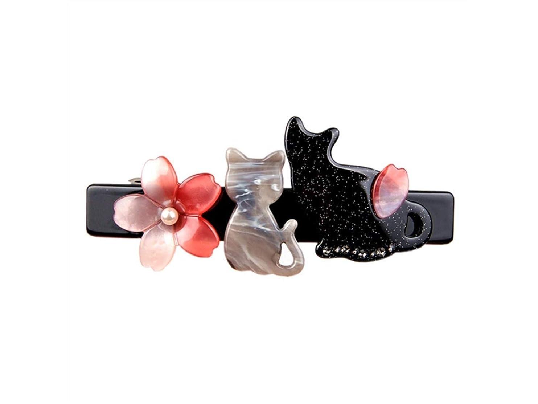 フック本体タオルOsize 美しいスタイル クリエイティブチェリーブロッサムの子猫春のクリップヘアピンヘアアクセサリー(ブラック)