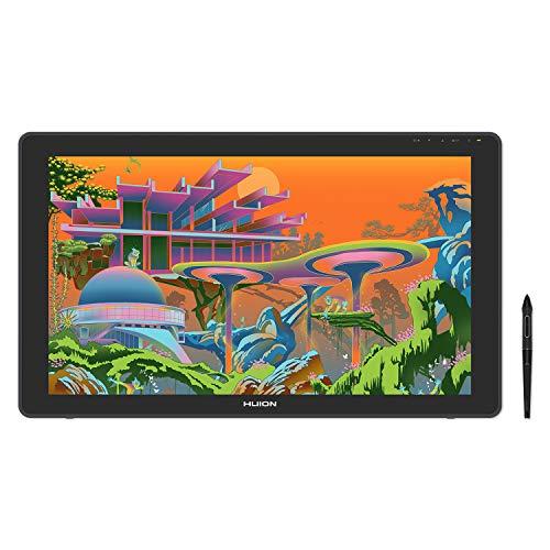 HUION Kamvas22 Plus 液晶ペンタブレット2020 量子ドットディスプレー 色域sRGB カバー率140% Android対応 オンライン授業やテレワークペン先の沈み込みを抑えたペンPW517同梱 アンチグレアガラス VESA対応 スタンド付属一年保証