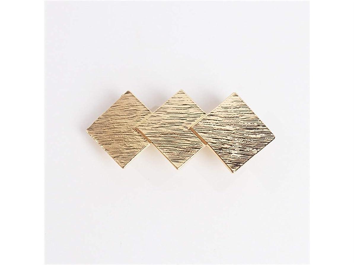 周り合図手を差し伸べるOsize 美しいスタイル 合金春単純な幾何学スクエアトップクリップポニーテールヘアクリップクリップ(ゴールデン)