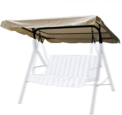 """Flexzion Swing Canopy Cover (Beige) 66"""" x 45"""" - Deluxe Polyester Top Replacement UV Block Sun Shade Waterproof Decor for Outdoor Garden Patio Yard Park Porch Seat Furniture"""
