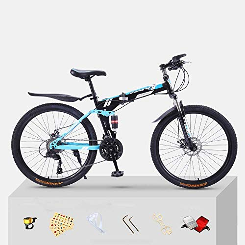 Pliuyb Mountain Bike Folding Bicycle for Adults 20 24 26 inch Double Speed for Off-Road Racing for Boys and Girls (Color : 21speed-24inch)