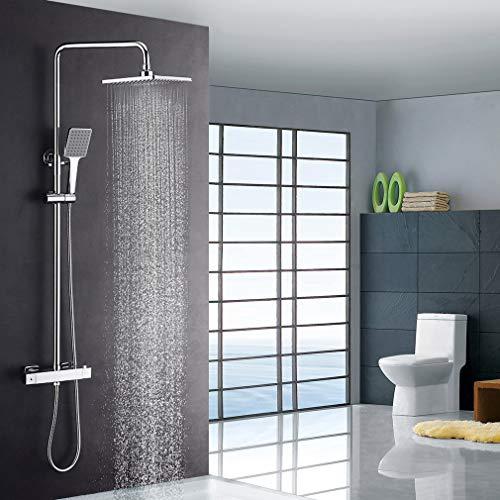 Luxus Dusche mit Thermostat und Regendusche 22x22 cm, höhenverstellbar, Duschsystem, Duschset Duscharmatur mit Thermostat und Handbrause, Verbrühschutz.