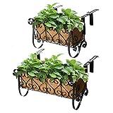 MorTime Iron Hanging Flower Rack Basket Shelf with Hooks, Railing Flower Pots Holder Black Metal...