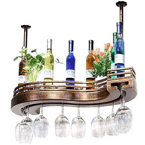 PLDDY 2 Schicht Aufhängen Weinglashalter,S Typ Weingläser Halter Stemware Rack Holder Weinregal Aus Metall Schmiedeeisen,deckenregal Hängeregal für Bars Restaurants Küchen
