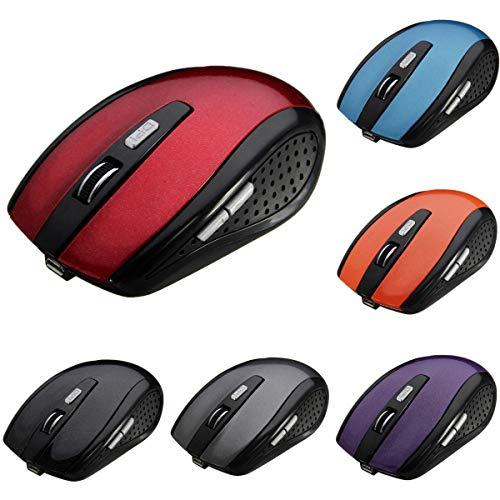 Yi-xir Fashion Design 800-1200-1600DPI inalámbrico Recargable 6 Botones Reproducir Visual Mouse Careful Service (Color : Black)