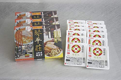 ラ−メンライス 人気有名ラーメンと山形雪若丸 琴平荘「中華そば」12食と雪若丸150g×12食
