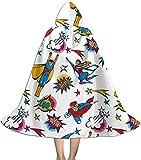 Secutoryang Meteor Mens Halloween Cloak with Hood Fancy Cool Cosplay Costume Printed