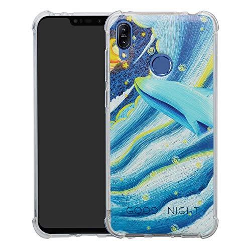 HHDY Asus Zenfone Max (M2) Hülle, Painted Muster Weich Ultradünne TPU Silikon Bumper Handyhülle Case für Asus Zenfone Max (M2) ZB633KL,Whale
