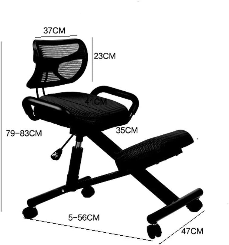 ZJHCC Chaises à Genoux Chaise de Bureau Ergonomique Tabouret réglable Favorisez Une Bonne Posture 5 Couleurs au Choix (Couleur: Noir) Red