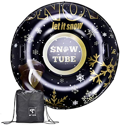 GP TOYS Winter Snow Tube - Inflatable Sled for Kids and Adults, Large 47 Inches Heavy Duty Sledding...