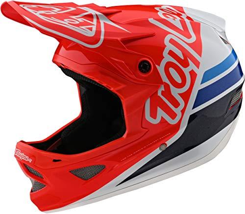 Troy Lee Designs Adult | BMX | Downhill | Mountain Bike | Full Face D3 Fiberlite Silhouette Helmet (Large, Red/White)