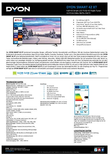 DYON Smart 42 XT 105 cm (42 Zoll) Fernseher (Full-HD Smart TV, HD Triple Tuner (DVB-C/-S2/-T2), Prime Video, Netflix & HbbTV) [Modelljahr 2021]