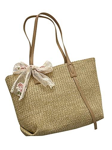 Chir Bolso de la paja de las mujeres del bolso del bowknot del cordón del bolso tejido del bolso de un solo hombro Bolso de playa (Khaki, un tamañ