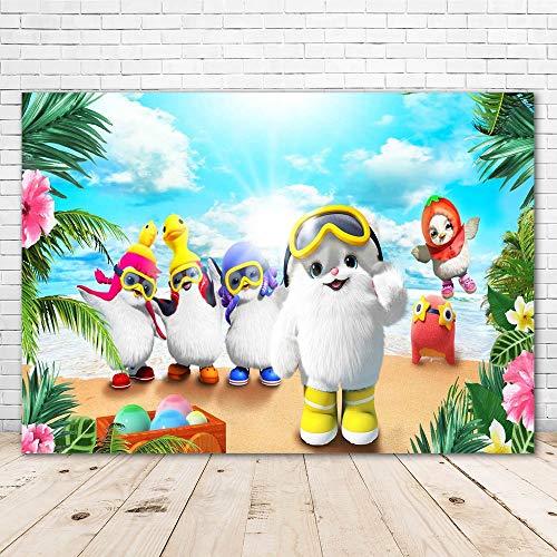 Cartoon Badanamu Backdrop Birthday Party Kids 7x5 Jungle Flower Hawaiian Badanamu Safari Animals Baby Shower Background for Girl Yellow Duck Backgrounds for Kids Party Supplies