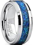 8MM Bague de mariage en Carbure de Tungstène avec bleu et vert opale. Pour Homme Intérieur Confort taille 61.5