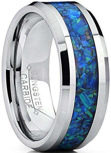 8MM Herren Wolframcarbid Ehering Mit Blau und Grun Opal, Bequemlichkeit Passen Größe 70
