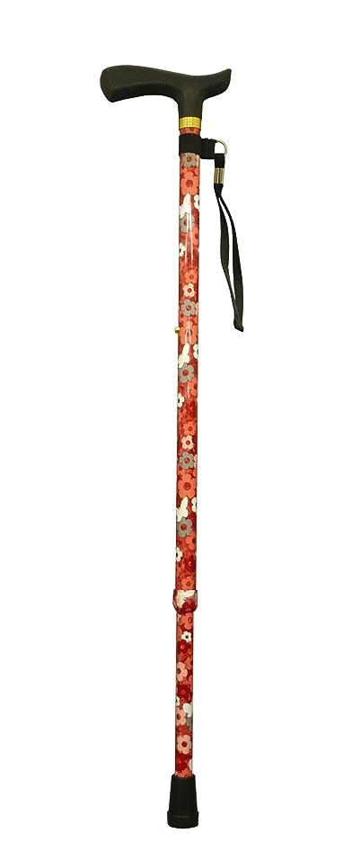 内なるエミュレートする血統ナカバヤシ RQステッキ エコノミータイプ 伸縮式 花柄レッド RQS-E111FR