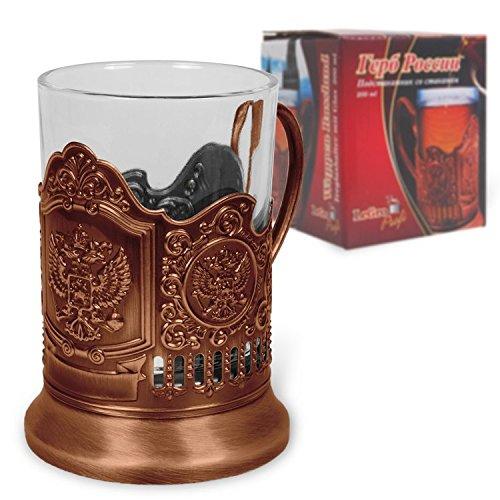 Olymp Teeglashalter mit Wappen von Russland Bronze (mit Teeglas 200 ml)