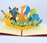 BC Worldwide Ltd handgemachte 3D-Pop-up-Karte Pokémon Taschenmonster Geburtstag Kind Kind Party Einladung Jubiläum Muttertag Vatertag Valentinstag - 3