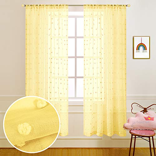 Yellow Curtains 63 Inch Length for Bedroom Girls Room Decor Set of 2 Panels Rod Pocket Pom Pom Textured Semi Sheer Yellow Curtains for Bathroom Windows Kitchen Dining Kids Nursery 52x63 Long