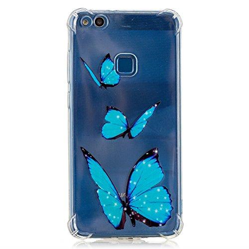 XINYIYI Silicone Coque pour Huawei P10 Lite, Luxe Clear View Design Bumper Très Transparent Ultra Mince Coloré Peint TPU Clair Protection Complète Housse Étui Anti-Choc - Ballons Papillon Bleu