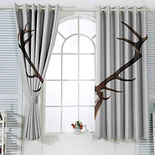 Cortinas para sala de estar con cuernos de un gran ciervo decoración de habitación de los niños de 96 x 72 pulgadas de ancho con huesos montados en un plato de madera con impresión de calaveras