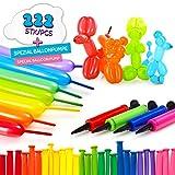 Lumaland Lot de 222 Ballons de baudruche à Modeler Multicolores avec Pompe pour...