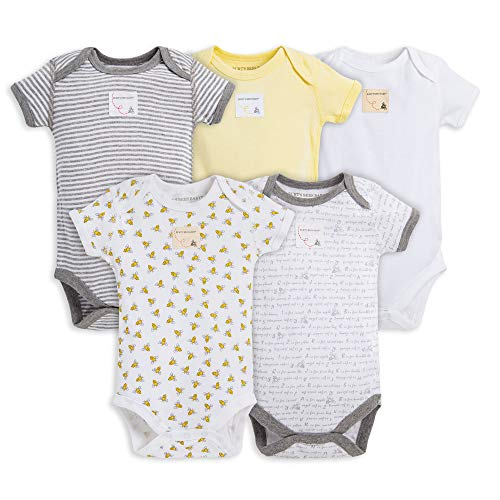 Burt's Bees Baby - Bodysuits, 5-Pack Short & Long Sleeve One-Pieces, 100%...