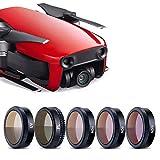 KUUQA 5 Piezas de Filtro de Lente de Vidrio óptico Drone para Accesorios de DJ Mavic Air, películas de Recubrimiento de múltiples Capas, Set de 5 (UV, ND4, ND8, ND16, CPL)