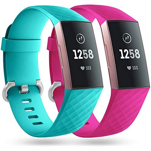 Faliogo 2 Stück Ersatzriemen Kompatibel mit Fitbit Charge 3 Armband/Fitbit Charge 4 Armband, Weiches Sports Uhrenarmband Armbänder für Damen Männer, Klein, Teal/Rosa