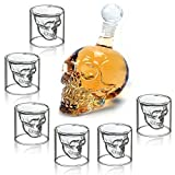 Wine Decanter Set Skull Carafe with Stopper(350ML) and 6 Pcs MINI 25ML Whiskey Glasses
