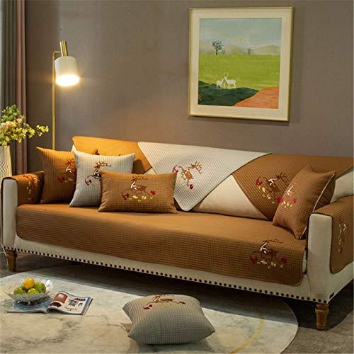 GAOZHEN Cojín de sofá Antideslizante de Pasta de Tela de Alce, Funda de sofá de combinación Moderna y Simple, cojín de protección Universal para Muebles para Todas Las Estaciones