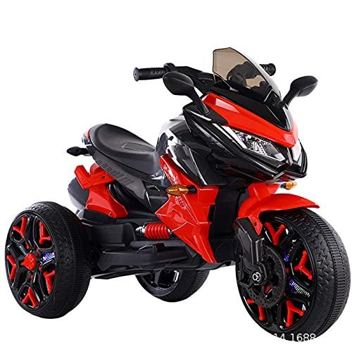 XLAHD Juguete para Montar en Motocicleta eléctrica para niños, Triciclo de Motocicleta de 3 Ruedas para niños, con Pilas, Juguetes para niños y niñas, de 2 a 9 años, Rojo