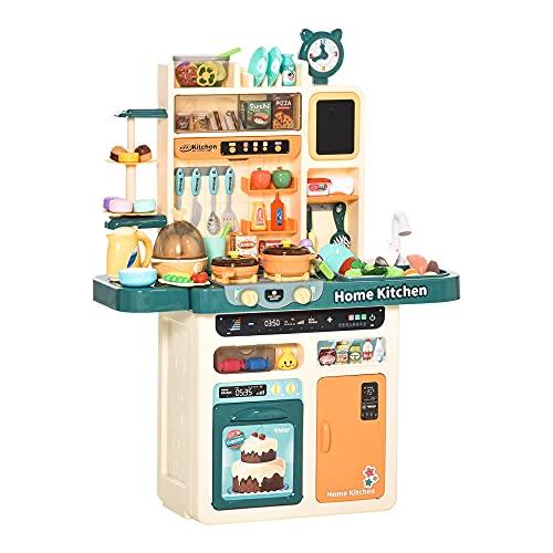 HOMCOM Cocina de Juguete para Niños de +3 Años con Luz Sonidos Agua Vapor Pizarra Fregadero 113 Accesorios Incluidos Cocinita Infantil Educativa 70x32x92,2 cm Multicolor
