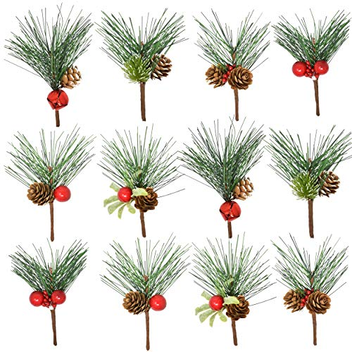 Gift Boutique 24 Mini Red Berry and Pine Cone Christmas Picks with Holly Branches for Holiday Decorations Great Addition to Any Christmas Decor, Crafts, Wreath, Garland or Tree
