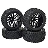 """Compatible with 1/10 RC Off-road Car,Truck,Monster,Truck Tries are made of rubber with sponge inside, wheel rims are made of plastic, perfect for replacement Wheel Drive Hex:12 mm/0.47"""" Tires Outer Diameter: 88mm/3.46"""" Notes: The tire is not glued on..."""