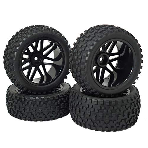 "Mirthobby 12mm Hex Wheel Rims Mesh Shape Rubber Tires with Sponge 88mm/3.46"" for 1/10 RC Off-Road Car Truck Monster,Black"