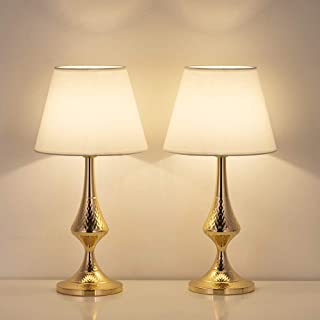 HAITRAL Vintage Table Lamps Set of 2- Small Bedside Lamps with White Fabric Shade, Nightstand Lamps for Bedrooms, Office, Dorm, Girls Room -Golden Base