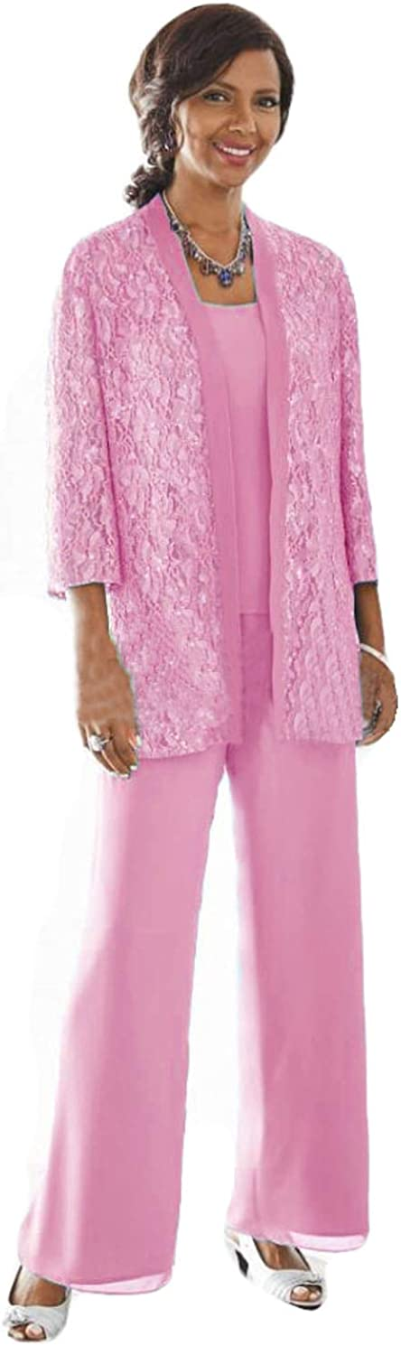 WZW Mother of The Bride Pant Suits with Jacket 3PC Pants Outfit Petite Special Occasion Pant Sets