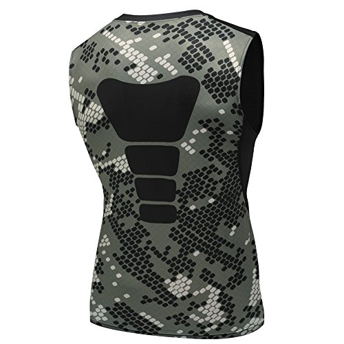 AMZSPORT Herren Kompressions-Tanktop àrmellos Funktionsshirts BaseLayer Unterhemd Tarnung Serie, Mehrfarbig, M